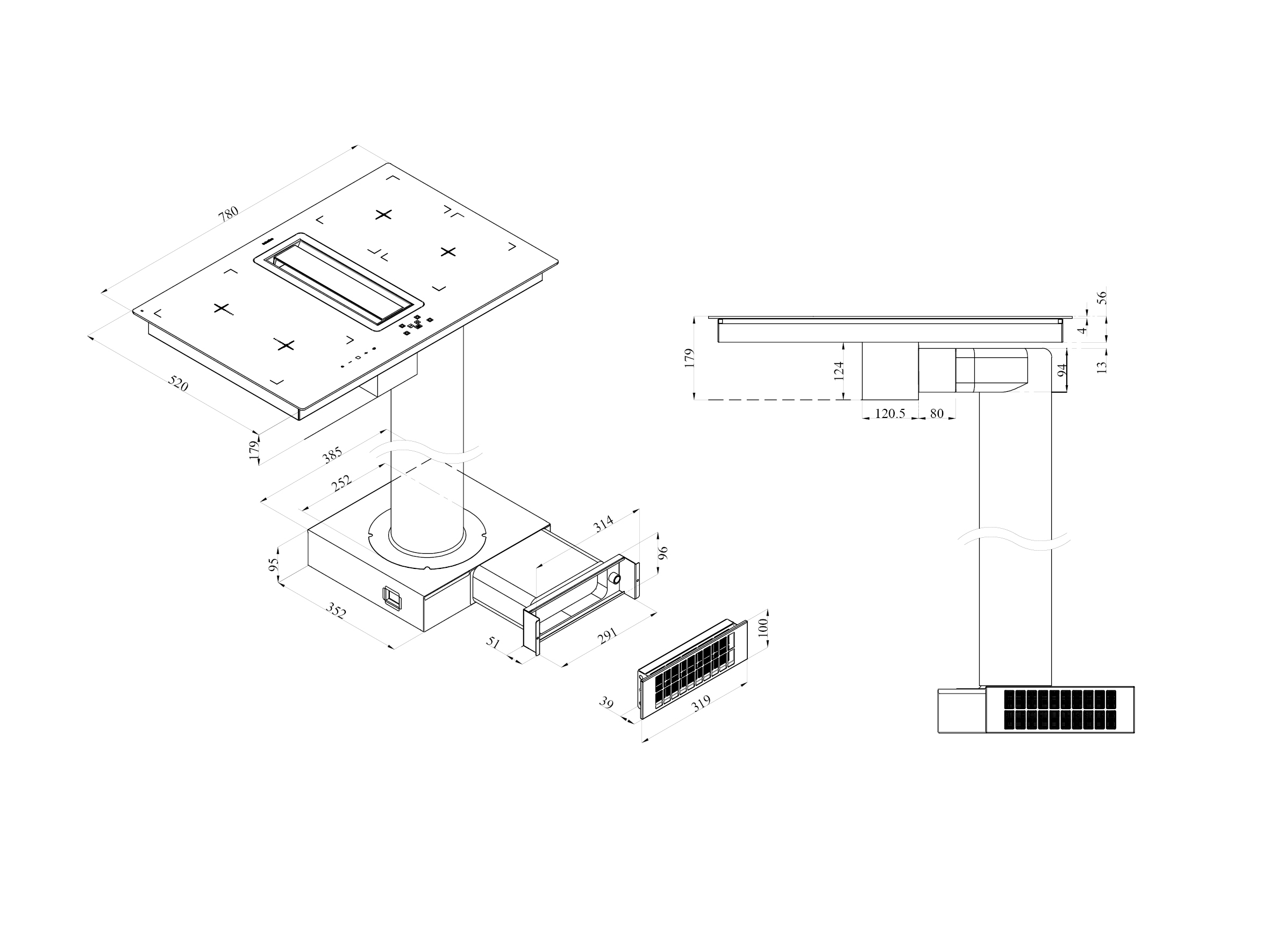 Line Art Extractor : Flow in induction hob and extractor ikon commercial
